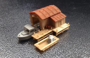 Outland Models Train Railway Boathouse with Boat and Pier